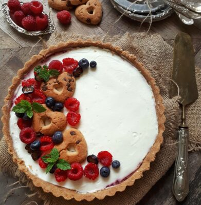 Cheesecake alla Vaniglia e Lamponi senza cottura
