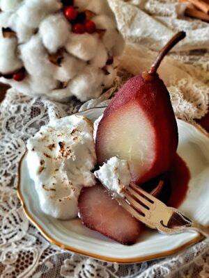 Poached Pears al Vino Rosso Speziato